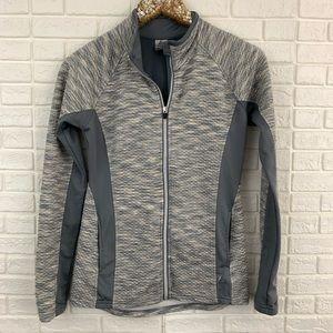 RBX zip front active workout jacket gray textured
